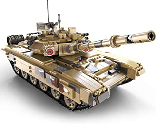 Technic Tank Building Set, 1:10 T-90 Military Tank Model Construction Set with Remote Control And 3 Motors, 1715 Pieces Bl...