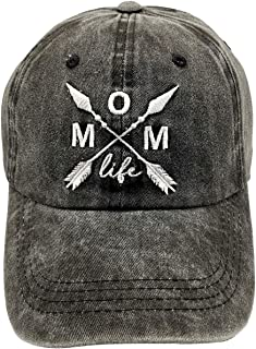 Mom Life Dad Hat Embroidered Distressed Denim Baseball Cap for Women
