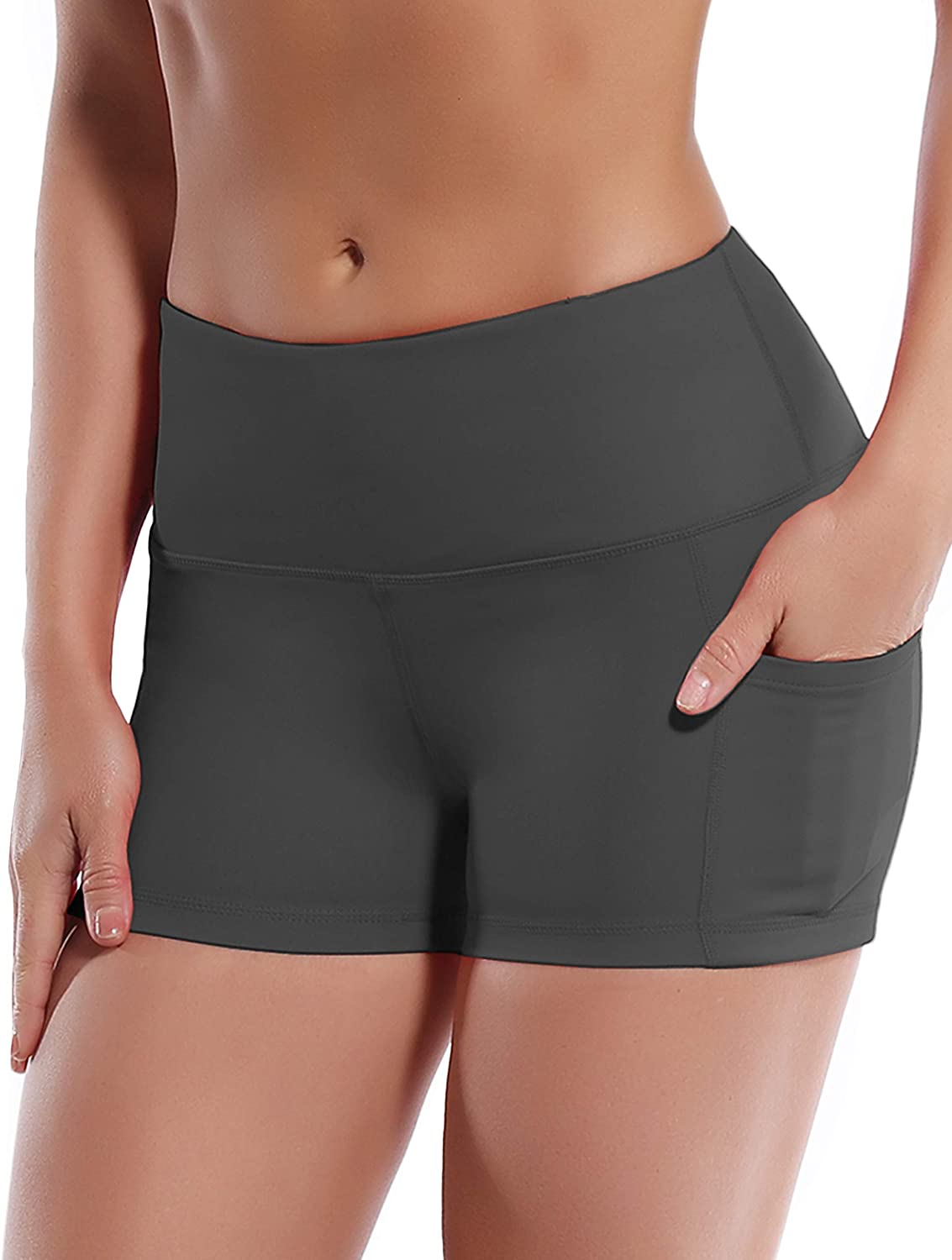 BUBBLELIME 8 Basic//Out Pockets Stretch Yoga Shorts for Women Tummy Control Moisture Wicking Workout Running Shorts