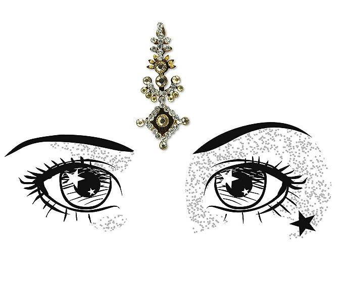 B2823 Gold Stone Silver Gem Diamante Bindi Tattoo Forehead Sticker Wedding Tikka