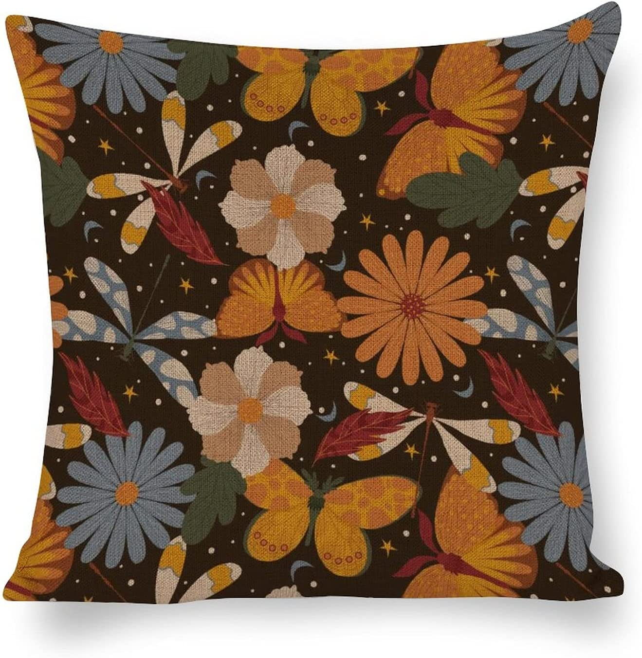 Cotton Linen Pillow Covers Insects Flowers Home Financial sales sale Decorati Pattern New item