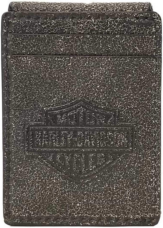 Harley-Davidson Men's Burnished Embossed Magnetic Leather Cash Clip/Card Holder