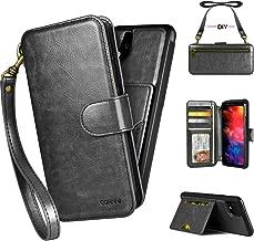 PAMANO Google Pixel 4XL Wallet Case, Zipper Pocket Strap DIY Crossbody Detachable Kickstand, Flip Cover Leather Folio Purse Protective Magic Sticker with Card Holder- Black