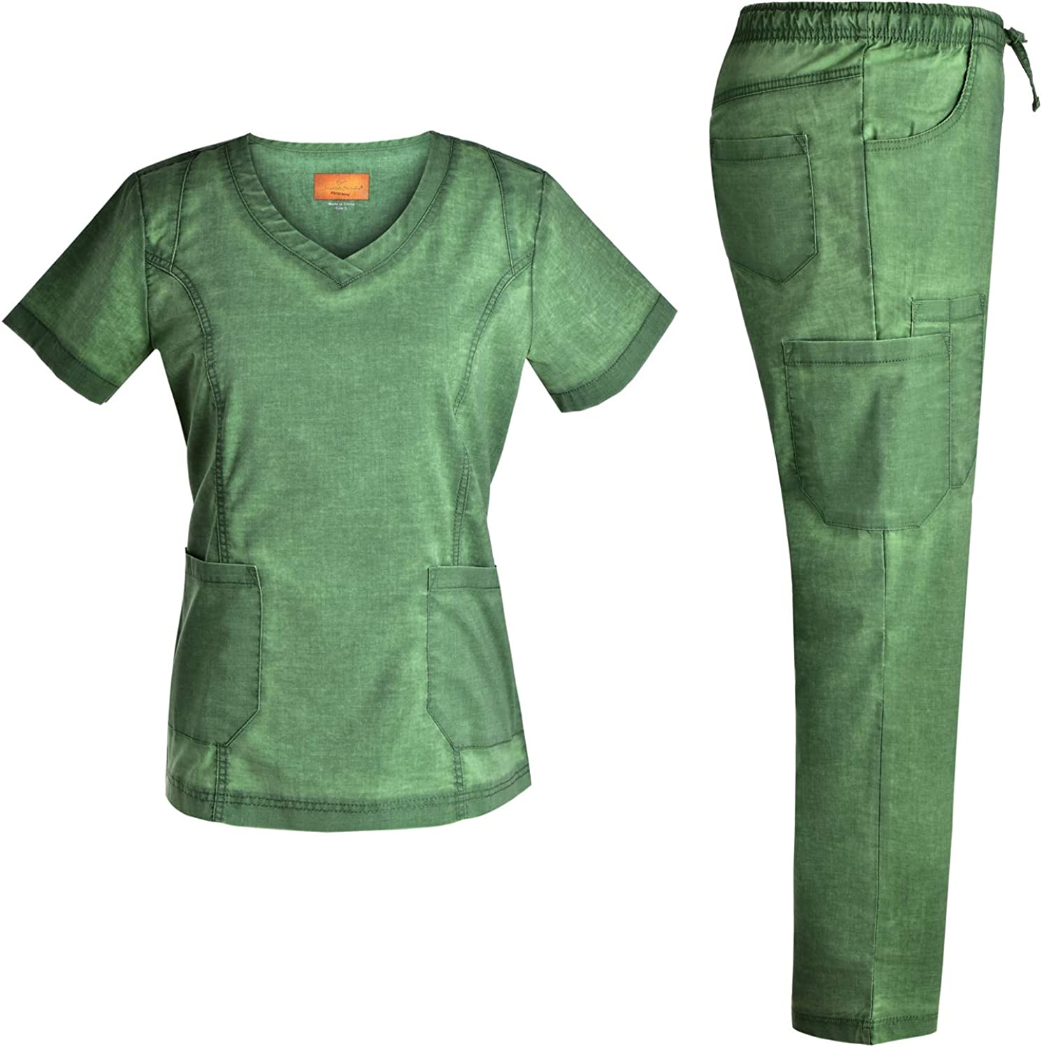 Women Stretch V Neck Set famous - Pocket Washed 9 A surprise price is realized Style Fashion Jeanish