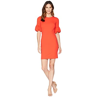Donna Morgan Crepe Sheath Dress with Lantern Sleeve (Scarlet Red) Women