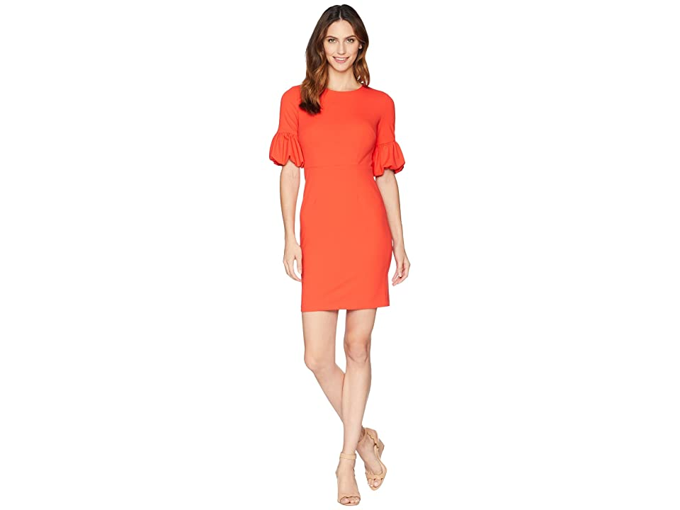 Donna Morgan Crepe Sheath Dress with Lantern Sleeve (Scarlet Red) Women