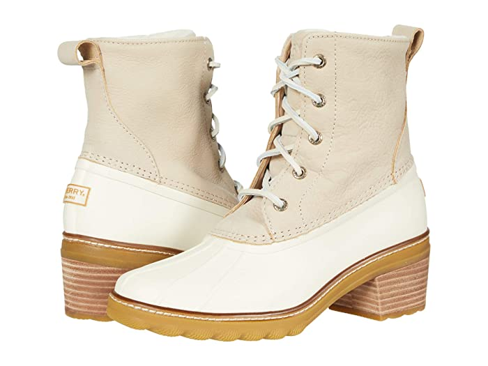 Vintage Boots- Winter Rain and Snow Boots History Sperry Saltwater Heel Leather Ivory Womens Shoes $97.99 AT vintagedancer.com
