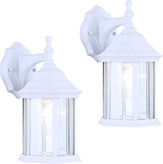2 Pack of Exterior Outdoor Light Fixture Wall Lantern Sconce Clear Beveled Glass, White Finish
