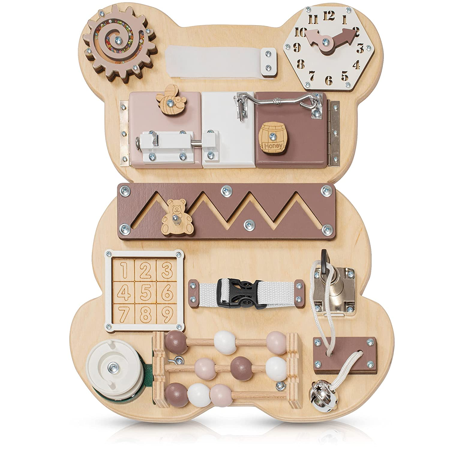 Toddler Busy Board Bear for 1 2 3 Year Old - Wooden Handmade Baby Sensory Activity Boards with Keys, Lock, Latches, Time Telling Clock, Buckle - Travel Car Plane Montessori Toys (Nature)