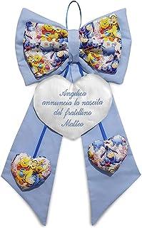 Crociedelizie, Fiocco nascita Disney Winnie the Pooh fuori porta ricamo personalizzato nome bimbo bimba cuore azzurro rosa