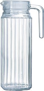 Luminarc Quadro Jug with White Lid, 37 ounce, Clear