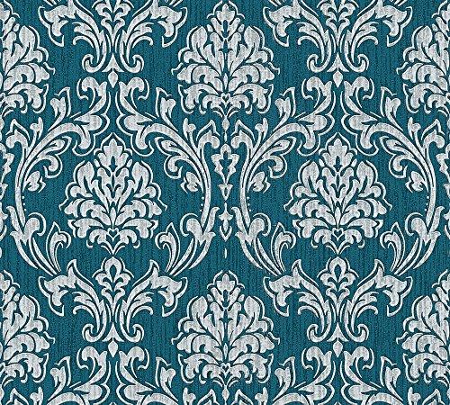 Esprit Vliestapete Eccentric Luxury Tapete mit Ornamenten barock 10,05 m x 0,53 m blau grau metallic Made in Germany 357021 35702-1