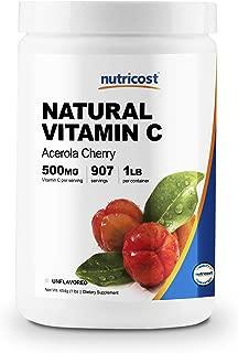 Nutricost Natural Vitamin C - Acerola Cherry Powder 1LB - Gluten Free & Non-GMO