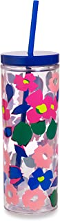 Kate Spade New York Floral Insulated Tumbler with Reusable Straw, 20 Ounce Acrylic Travel Cup with Lid, Botanical Garden