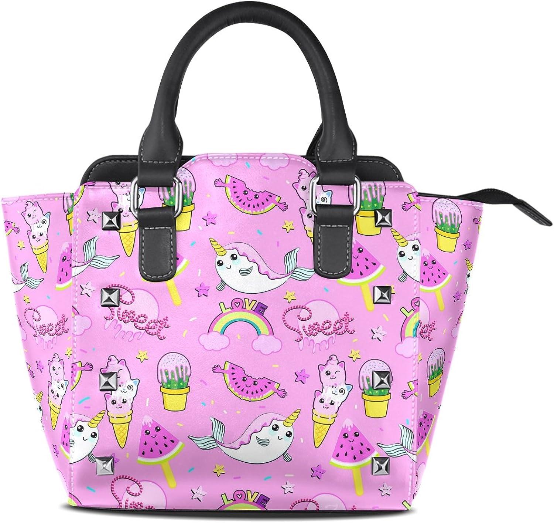 My Little Nest Women's Top Handle Satchel Handbag Cute Cactus Ice Cream Pattern Ladies PU Leather Shoulder Bag Crossbody Bag