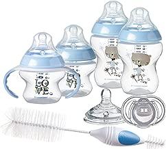 Tommee Tippee Newborn Baby Bottle Feeding Starter Set - Includes Breast-Like Nipples, Bottle Handles, Newborn Pacifier, Bottle & Nipple Cleaning Brush -Blue, Boy (Design May Vary)