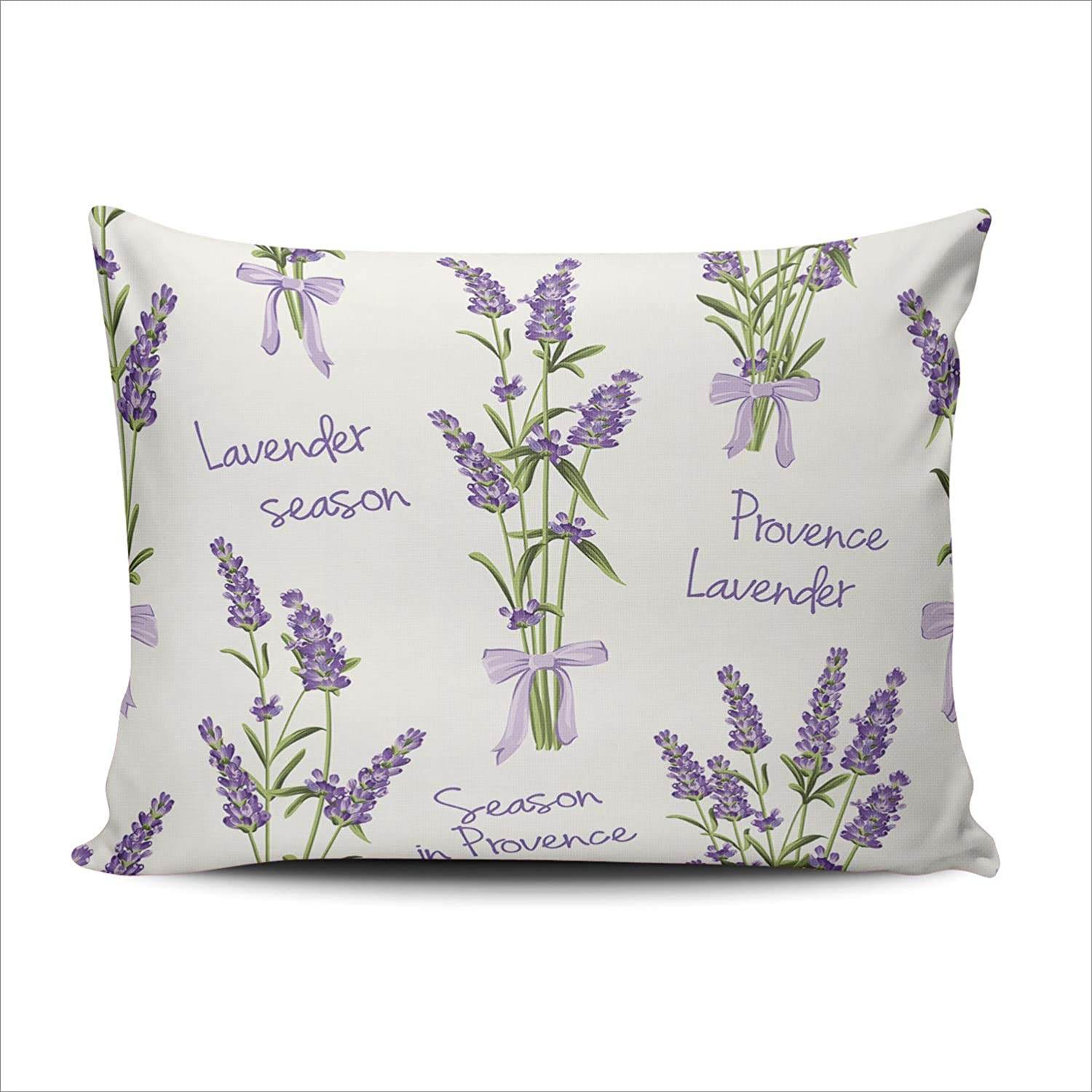 ONGING Decorative Pillowcases New store product type Lavender Flowers Waterc White on a
