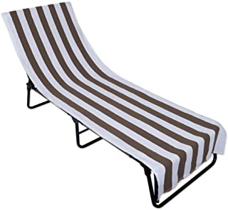 J & M Home Fashions Stripe Beach Lounge Chair Towel with Fitted Top Pocket, 26x82, Stone