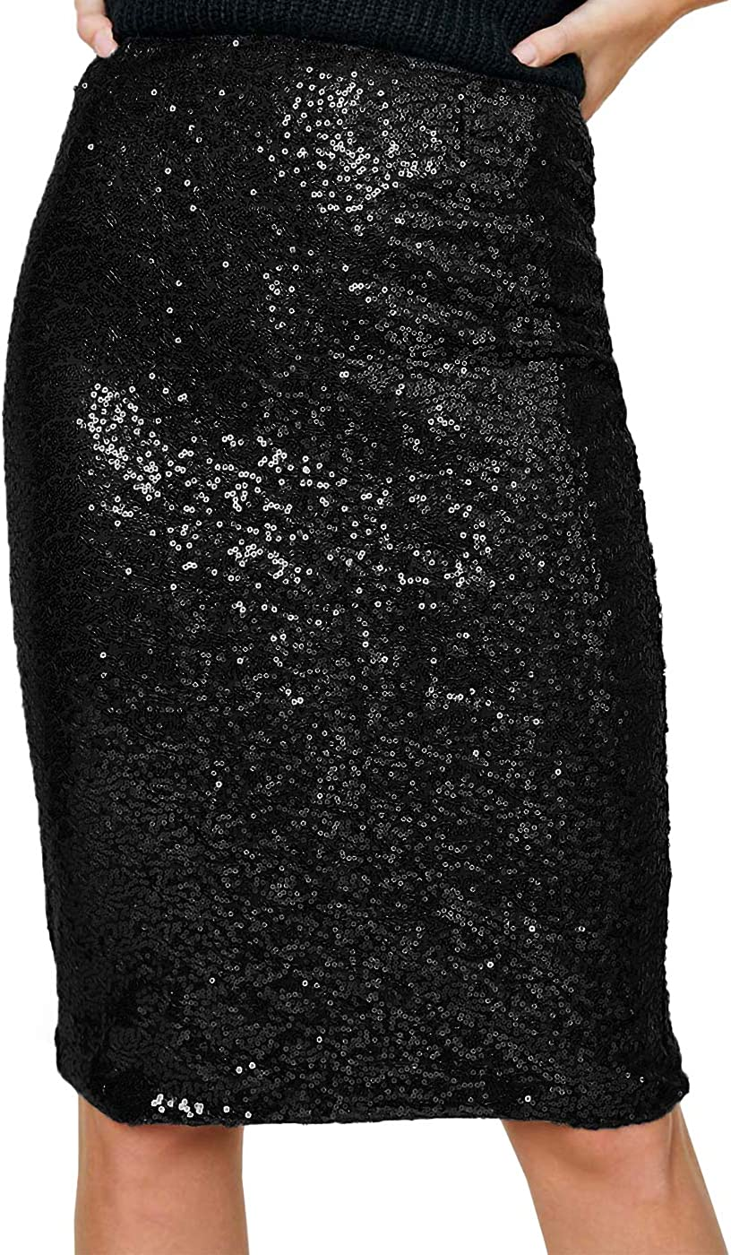 Anna-Kaci Women's High Waist Sparkly Sequins Midi Skirt Pencil Cocktail Party Skirt
