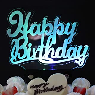 LINGPAR LED Happy Birthday Cake Topper Figurine Lamp Light - Best Party Decoration Gift with 7 Colors