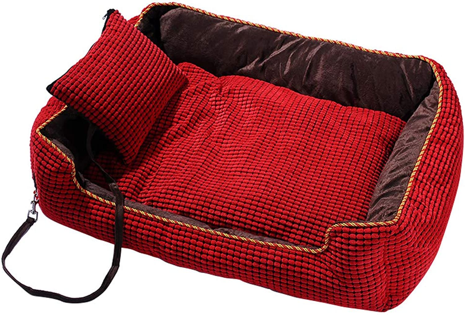 HQSB Pet Bed Deluxe Soft Washable Warm Dog Basket Bed Cushion with PP cotton Lining for Cats & Dogs (color   RED, Size   Xl)