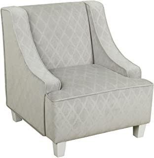 HomePop Youth Upholstered Swoop Arm Accent Chair, Grey Diamond