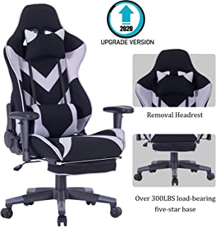 Gaming Chair Ergonomic High-Back Large Size Office Desk Chair Swivel Grey PC Gaming Chair with Lumbar Support and Retractible Footrest (Grey-C)