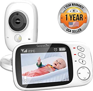 """Video Baby Monitor Long Range - Upgraded 850' Wireless Range,  Night Vision, Temperature Monitoring and Portable 2"""" Color Screen - Serenelife USA SLBCAM20"""