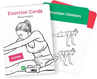 WorkoutLabs Visual Bodyweight Workout Cards - #1 Bestselling Premium Waterproof Fitness Flash Cards for at Home Workouts Without Equipment (Women) 737534649213, Women's