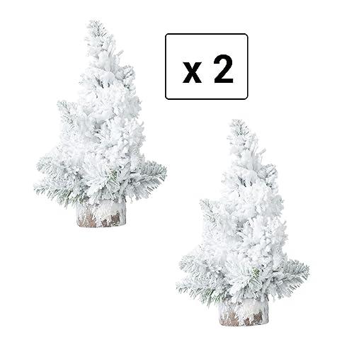 Lot de 2 Sapins de Noël artificiels de table ENNEIGES - 21 branches - Hauteur 25 cm - Coloris Vert Floqué BLANC