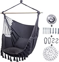 Kanchimi Hanging Chair-Max 330 Lbs.Large Hammock Chair with Detachable Metal Support Bar& Side Pocket.Hanging Rope Swing f...