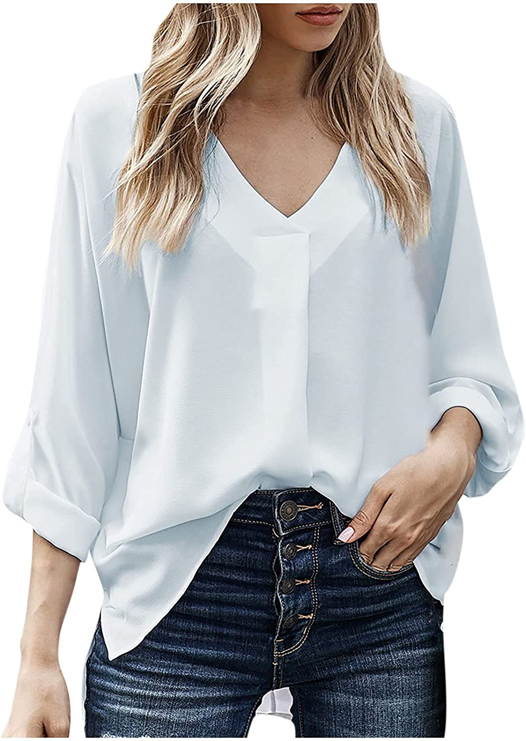 Womens Shirts V-Neck Solid Color Long Sleeve Simple Fashion Loose Breathable Comfy Blouses Ladies Office Daily Tops