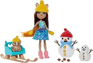 ENCHANTIMALS GNP16 - Enchantimals Sneeuwpop met Sharlotte Eekhoorn (pop van 15 cm), Walnut haar dierenvriendje, 2 sneeuwpo...