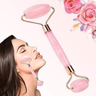 Rose Quartz Roller For Face, Rose Quartz Facial Roller -100% Natural Jade Facial Roller Massager for Eye Puffiness Treatment, Face Neck Firming