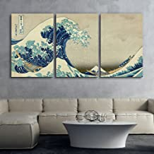 wall26 3 Panel World Famous Painting Reproduction on Canvas Wall Art - The Great Wave Off Kanagawa by Hokusai - Modern Home Decor Ready to Hang - 24