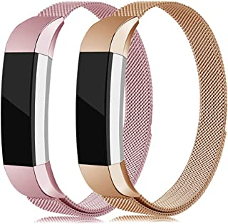 LNOOIU Metal Bands Compatible with Fitbit Alta, Replacement for Alta HR Stainless Steel Bands Adjustable Accessory Wristband for Alta Bracelet Women Men Girls Boys(2 Pack Small E)