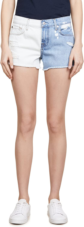 7 For All Mankind Womens Distressed Raw Hem Denim Shorts