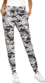 Doaraha Damen Hose Camouflage Jogginghose Elegant Sporthose Stretch Baumwolle Laufhose Hohe Taille Traininghose mit Elastischer Bund Drawstring und Taschen für Sport und Freizeit