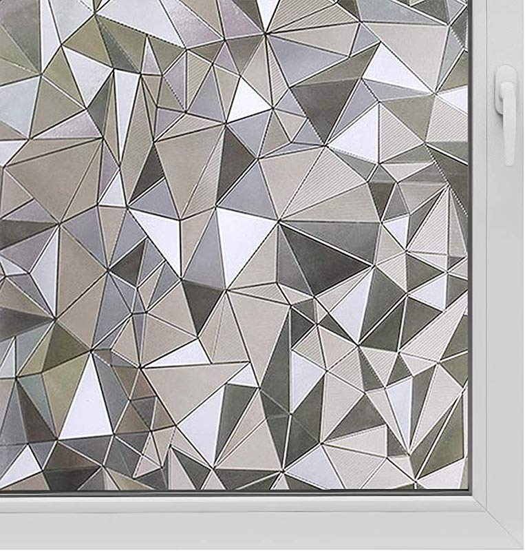 Window Film Non Adhesive Frosted Film Privacy Window Sticker Self Static Cling Vinly Glass Film Anti UV Decorative For Home Office Triangle 35 4 Inch X 13 1 Feet