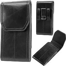 suily iPhone Xs/XR/8 Plus/7 Plus/6 Plus Belt Holster, Universal Leather Belt Loop Case Vertical Flip Cover Magnetic Closure Waist Pouch Fit for 5.5