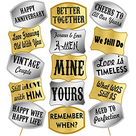 Party Propz Happy Anniversary Photo Booth Props Set - 44Pcs with Golden & Silver Anniversary Party Props for Photo - Happy Anniversary Decoration Kit Items for Husband - Wife in 1st, 25th ,50th