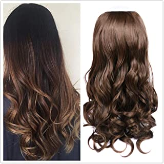 Wiger U Part Wig with 7 Clips Synthetic U shape Half Hair Wig Long Curly Wave Heat Resistant Fiber Invisible Half Head Hair Pieces for Women