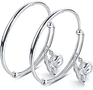 AMdxd Jewelry Sterling Silver Bracelet for Baby Silver Peanut Ball (1 Pair) Bracelet for Baby Girl 40MM