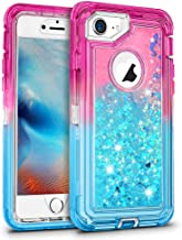 Maxcury Case for iPhone 8, iPhone 7 Defender Case, Flowing Bling Liquid Quicksand Heavy Duty Shockproof Defender Cover for iPhone 6/6s in 4.7 Inch - Pink/Blue