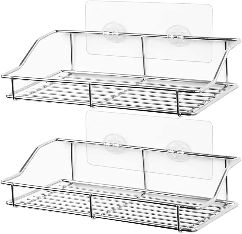 SMARTAKE 2 Pack Shower Caddy Adhesive Bathroom Shelf Wall Mounted No Drilling Strong Shower Caddies Kitchen Racks Stainless Steel Storage Organizers 9 9 Inches