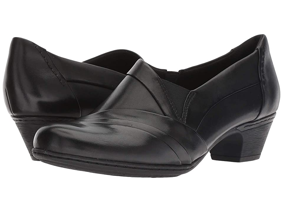 1940s Style Shoes, 40s Shoes Rockport Cobb Hill Collection Cobb Hill Abbott Slip-On Black Leather Womens Shoes $124.95 AT vintagedancer.com