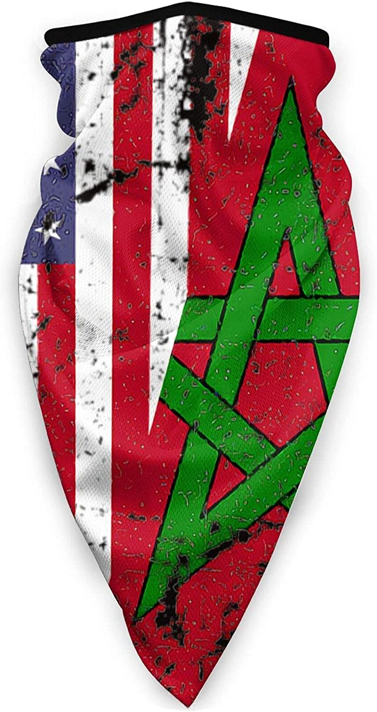 Moroccan Roots American Flag Sun UV Dust Face Scarf, Sweatband Bandana face mask Neck Gaiter Mask Protection Balaclava Cover