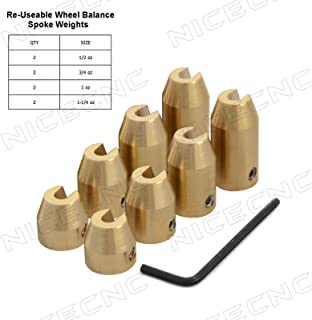 NICECNC 8 Pack Motorcycle Reusable Brass Wheel Spoke Balance Weights Refill Kits for Super Moto,Dual Sport,Metric Cruisers,Vintage or Any Other spoked Wheels