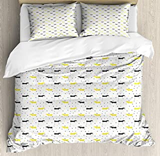 Dachshund Duvet Cover Set King Size, Sketchy Painted Pattern with Bicolour Sausage Dogs and Little Hearts, Decorative 3 Piece Bedding Set with 2 Pillow Shams, Black Mustard and White
