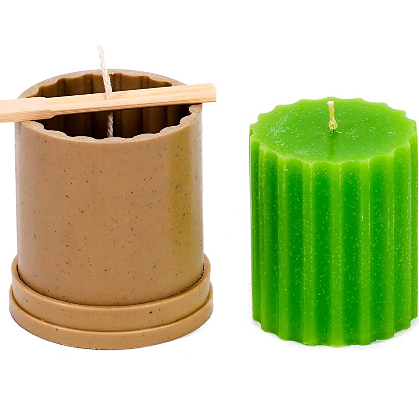 Сylinder Rif Mold - Height: 3.1 in, Width: 2.7 in - 30 ft. of Wick Included as a Gift - Plastic Candle molds for Making Candles